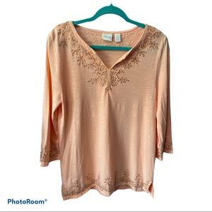 Chico's peach v-neck sequined tunic blouse 0